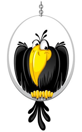cuervo: cuervo domesticado lindo sentado en una percha especial Vectores