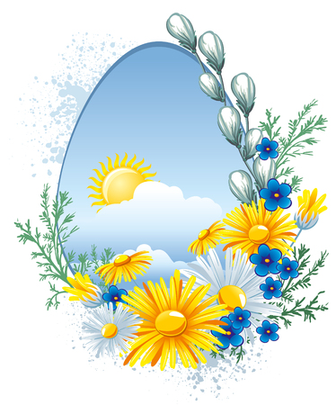 Easter greetings card with spring flowers. Vector image.