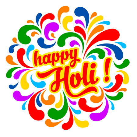 holi: Colorful festive Holi splash abstract background with Holi lettering. Indian traditional festival greeting card, banner, template design.