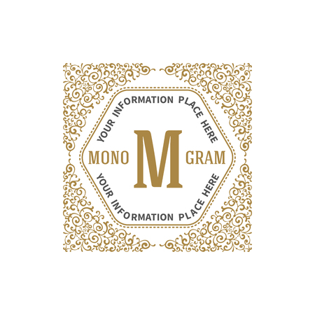 simple store: Simple and elegant monogram template with letter and flourishes calligraphic ornament frame. Identity design for restaurant, cafe, shop, store, boutique, hotel, heraldic, fashion and etc. Vector illustration. Illustration