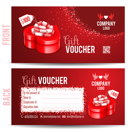 Captivating Gift Voucher Template With Luxury Red Gift Box In Heart Shape. Front And  Back Side