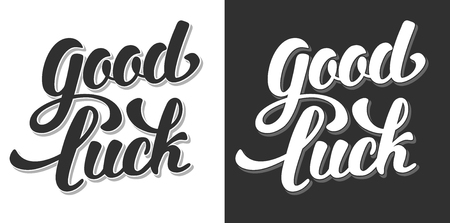 black luck: Good Luck Hand Drawn Calligraphic Lettering. Black or White Variations. Vector Illustration. Isolated on White and Black Background.