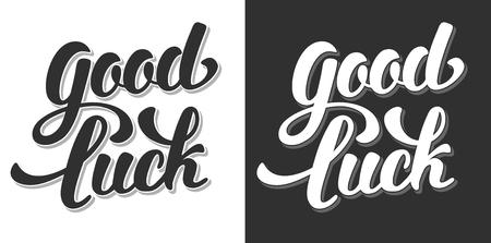 Good Luck Hand Getrokken kalligrafische letters. Black or White Variations. Vector Illustratie. Geïsoleerd op witte en zwarte achtergrond. Vector Illustratie