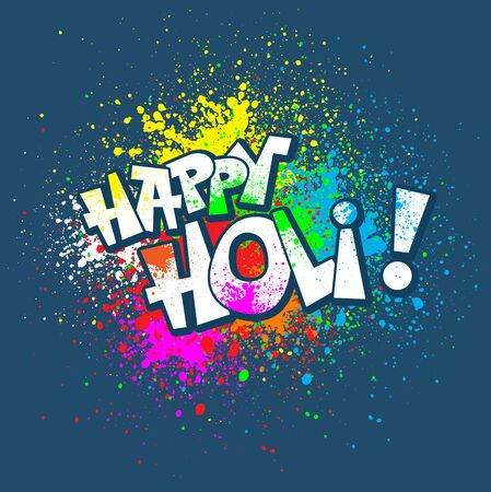 festival people: Colorful festive Holi splash abstract background with Holi lettering. Indian traditional festival greeting card, banner, template design.