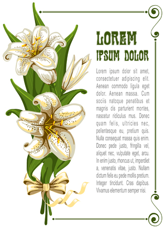 tiger lily: Wonderful bouquet with lilies and space for your text, vector illustration
