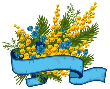 mimosa: Beautiful bouquet of mimosa and forget-me-not, vector illustration
