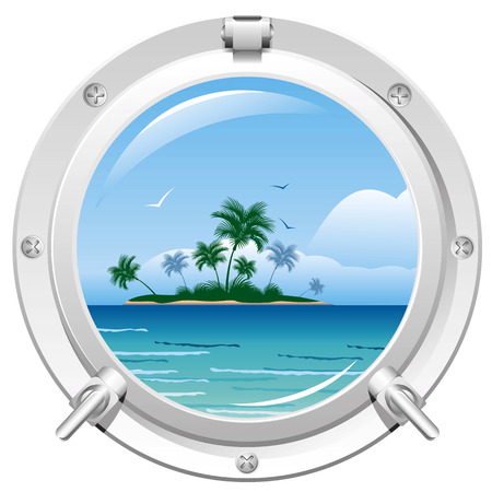 Porthole overlooking the sea and the tropical island Çizim