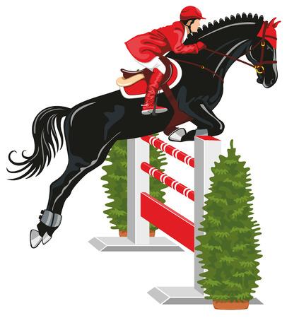 Concurso hípico. Jinete sobre un hermoso caballo negro salta por encima de una barrera. Vectores