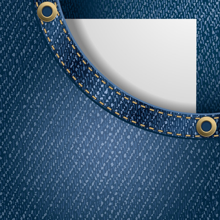 jeans fabric: Jeans background. Paper with space for your text peeking out of pocket . Detailed vector illustration.
