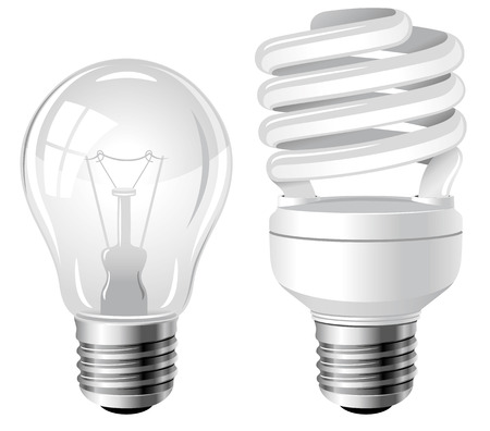 Incandescent and fluorescent energy saving light bulbs
