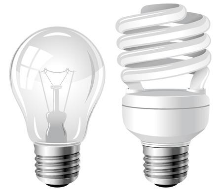 Gloeilampen en tl-spaarlampen Stock Illustratie