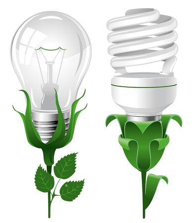 thrift: Ecological lightbulbs set. Concept illustration.