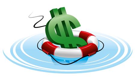 buoyancy: Dollar sign in the lifebuoy. Isolated on white background.
