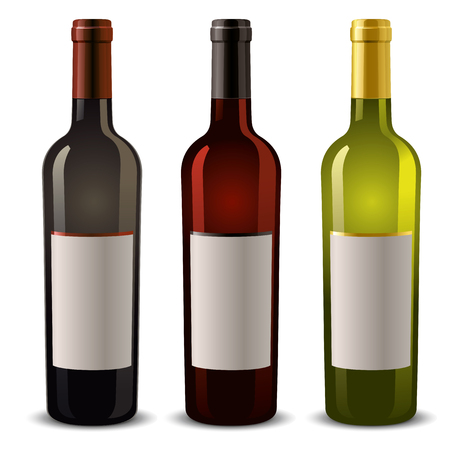 glass with red wine: wine bottles with blank label Illustration