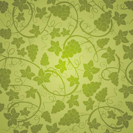 uvas: Viña fondo sin fisuras, ilustración vectorial