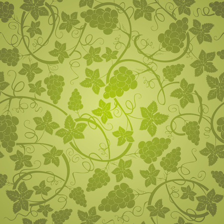 wine grapes: Vine seamless background, vector illustration