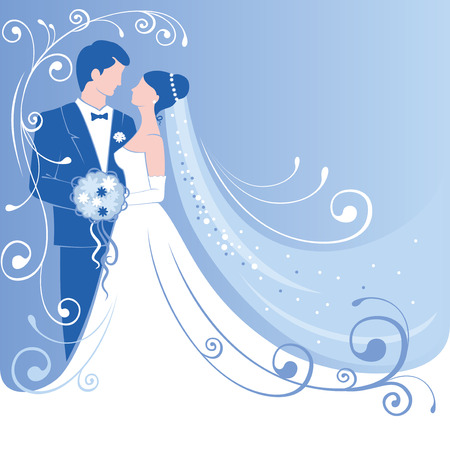 blue silhouettes: Bride and groom. Gentle wedding background. Vector. Illustration