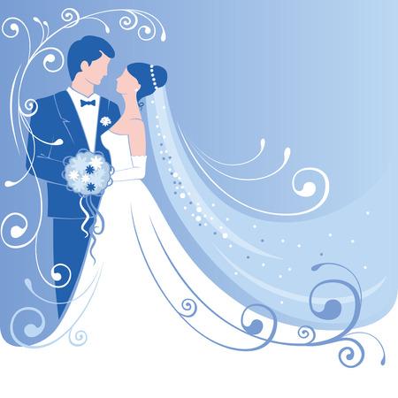 mujer con rosas: Novia y novio. fondo de la boda suave. Vector.