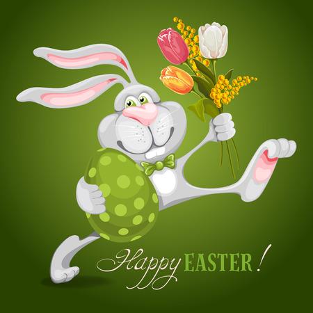 osterhase: Cartoon Hase hält Osterei und Frühlingsblumen und wünscht Ihnen ein frohes Osterfest