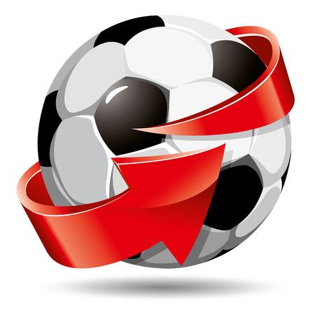 soccer team: Soccer ball and arrow around it Illustration