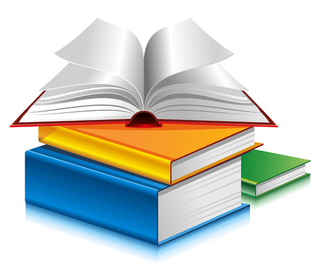 school book: Books of different colors on white background. Vector.