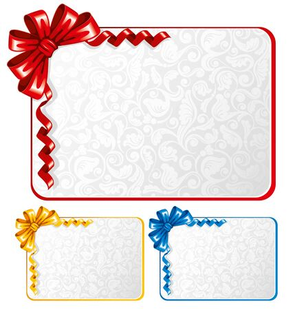ribbons and bows: Collection of bows and ribbons on the cards with ornaments. Vector illustration