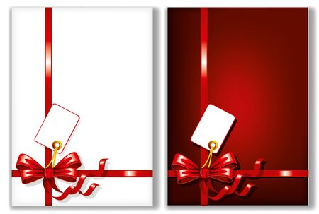 ribbons and bows: Bows and ribbons on the cards. Vector illustration