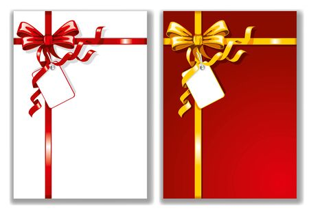 red ribbon bow: Bows and ribbons on the cards. Vector illustration