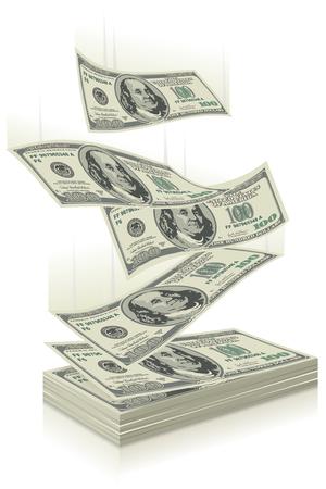 signos de pesos: volar billetes de un dólar, el concepto de éxito