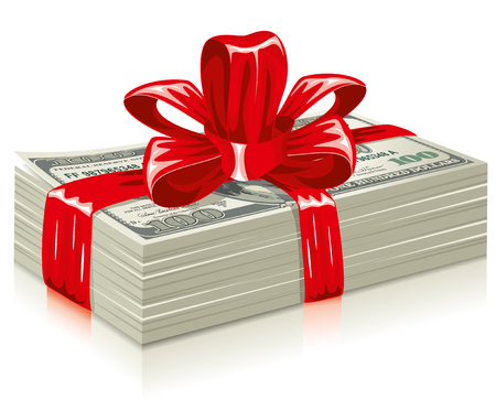 us paper currency: thick bundle of dollars, tied a red ribbon with a bow, the concept of success, vector editable