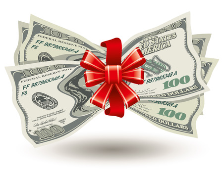 bank notes: dollars bank notes, tied a red ribbon with a bow, the concept of success, vector editable