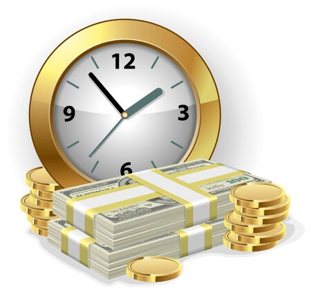 money time: Office Clock and money. Time is money concept. Vector illustration.