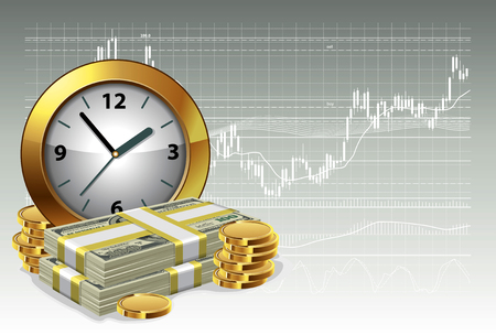 currency symbol: Clock and money on a background of the exchange graph. Time is money concept. Vector illustration. Illustration