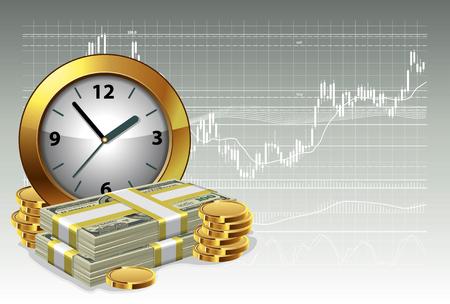 Klok en geld op een achtergrond van de uitwisseling grafiek. Tijd is geld concept. Vector illustratie.
