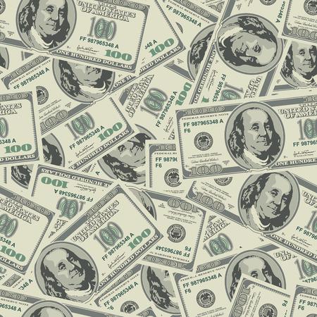 Vector seamless dollars background. Detailed illustration. Stock Illustratie