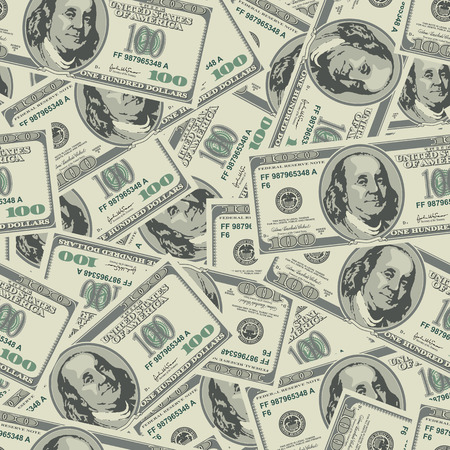 Vector seamless dollars background. Detailed illustration. Çizim