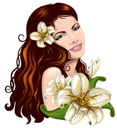 nude girl young: Pretty young woman with a bouquet of lilies