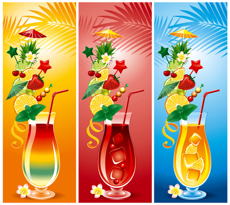 cocktail drinks: Set of tropical cocktails, in a richly decorated glasses