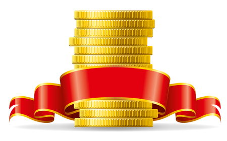 pecuniary: Stack of coins with a red ribbon. Concept of pecuniary profit.
