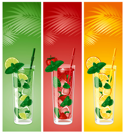 tropical fruit: Refreshing mojito cocktails, lime, strawberry and orange with mint