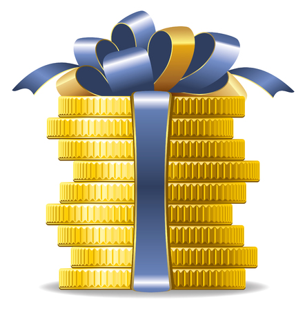 pecuniary: Stack of coins with a bow. Concept of pecuniary profit.