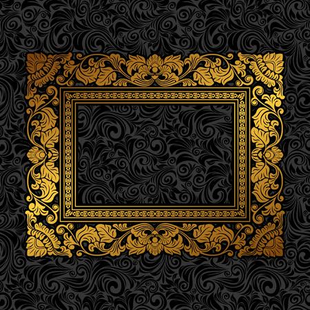 Royal cadre d'or de l'image sur le papier peint noir Banque d'images - 54354224