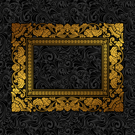 black and white frame: Royal gold Picture frame on the dark wallpaper