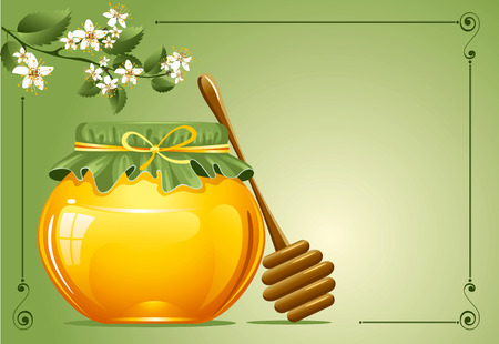 apiculture: Honey with a wooden stick and flowers. Vector.