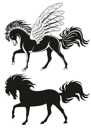 rear wing: Pegasus winged horse, vector silhouettes Illustration