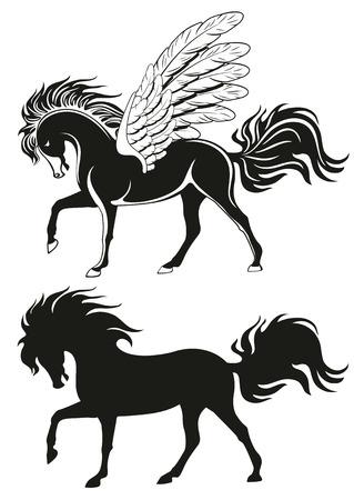 equine: Pegasus winged horse, vector silhouettes Illustration