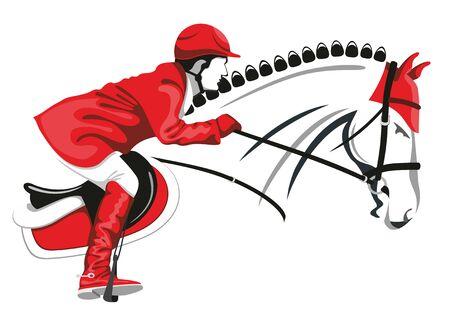 jinete: Concurso hípico. Jinete sobre un hermoso caballo negro salta por encima de una barrera. Vectores