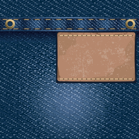 blue metal: Jeans background with leather label. Detailed vector illustration.