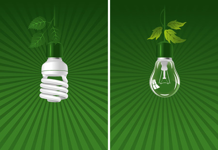 thrift: Ecological lightbulbs set. Concept illustration.