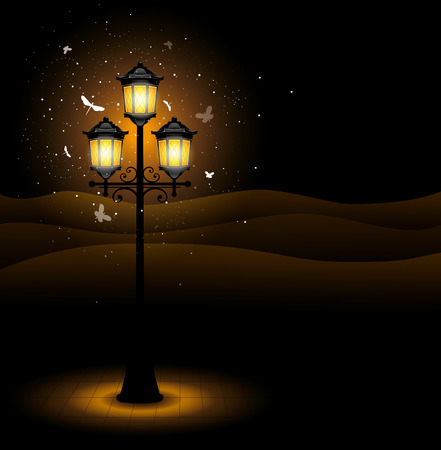 street lamp: Old street lamp at night. Detailed vector. Illustration